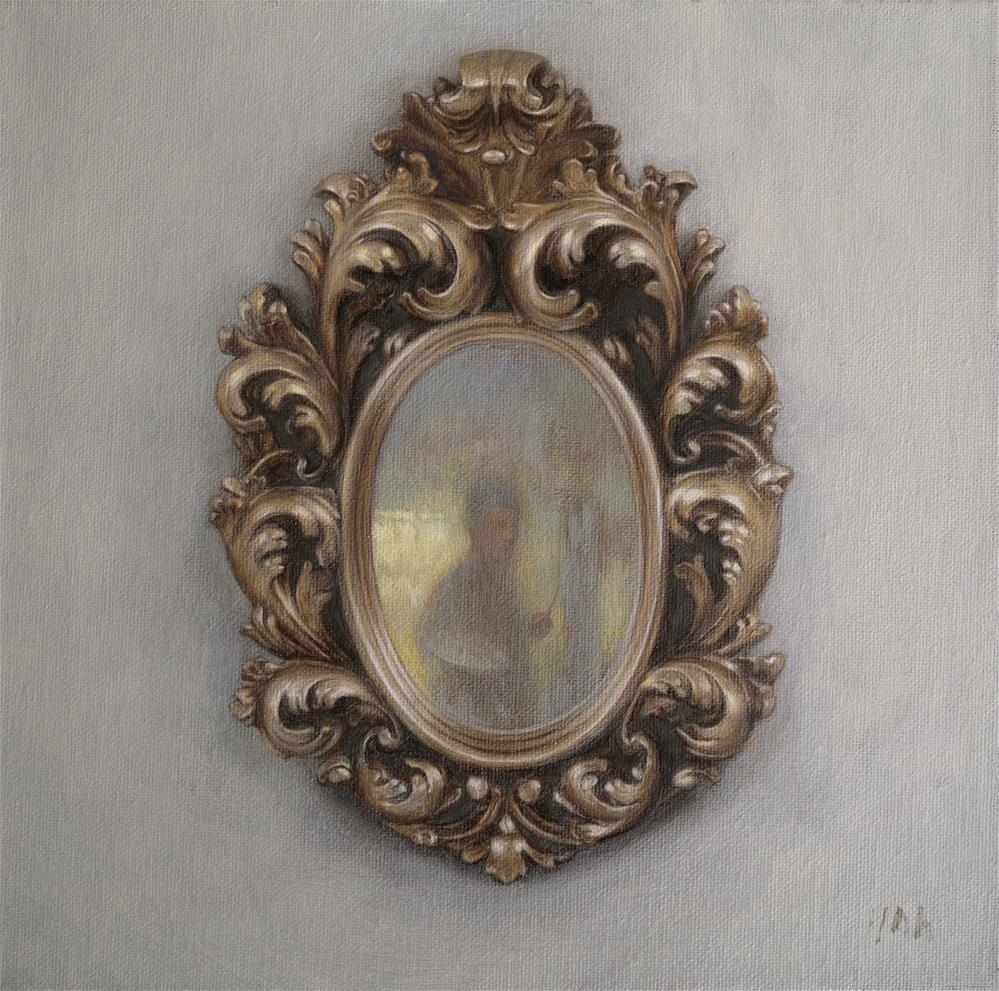 """old mirror"" original fine art by Yuehua He"