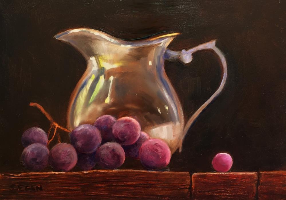 """Silver Creamer with Concord Grapes"" original fine art by Sharon Egan"