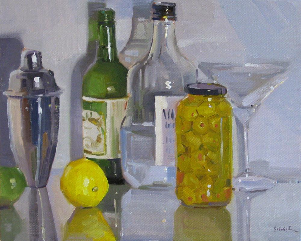 """High Spirits liquor vodka martini glass olives bar decor oil painting"" original fine art by Sarah Sedwick"