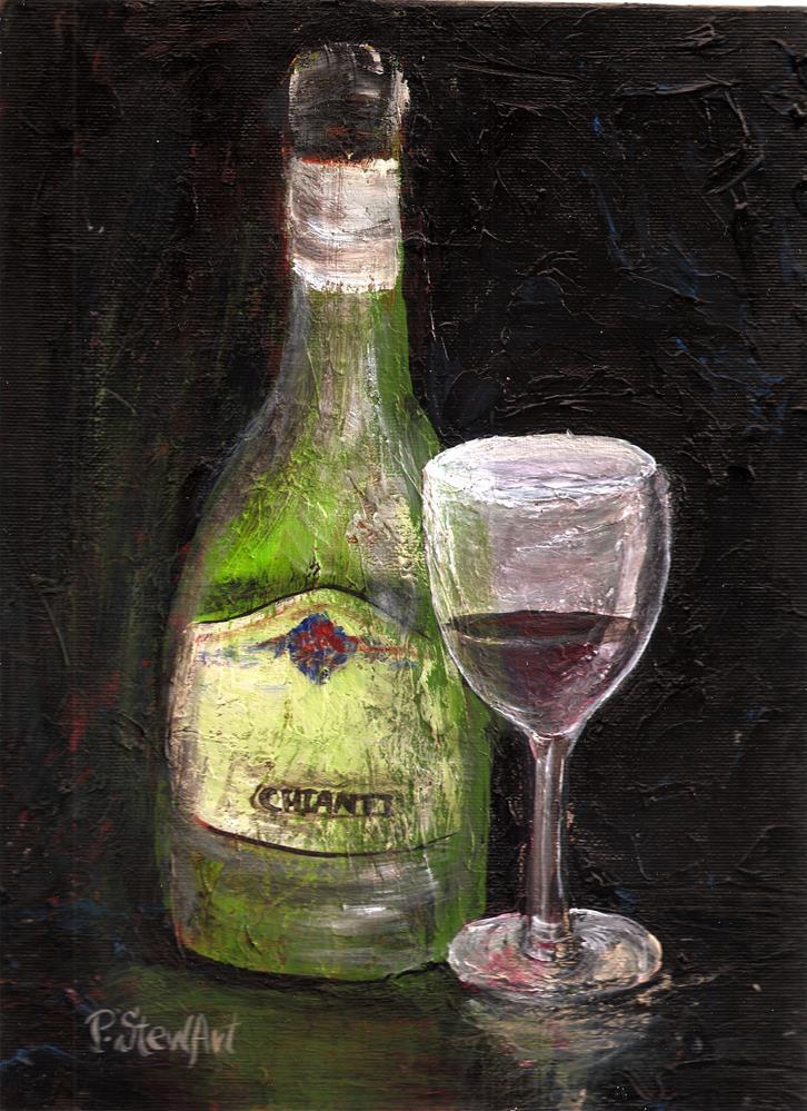 """""""9x12 Chianti Bottle of Wine and Glass OOAK SFA Original by Penny StewArt"""" original fine art by Penny Lee StewArt"""