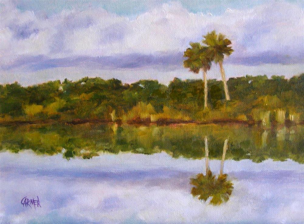 """Snuggled Palms, 8x6 Original Oil Landscape on Canvas"" original fine art by Carmen Beecher"