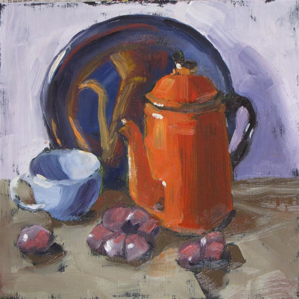 """Orange coffee pot"" original fine art by Louise Kubista"
