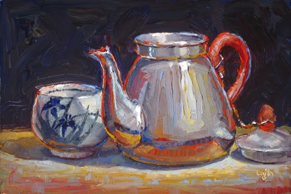 """Tea Bowl and Pot"" original fine art by Raymond Logan"