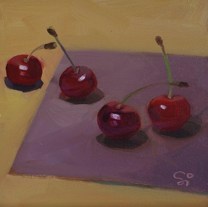 """""""Four cehrries"""" original fine art by Istvan Schaller"""