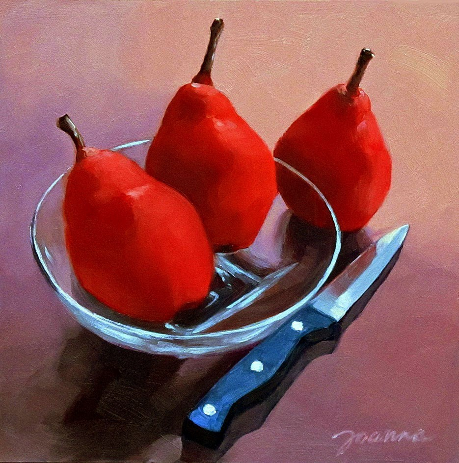 """Still Life with Three Red Pears"" original fine art by Joanna Bingham"