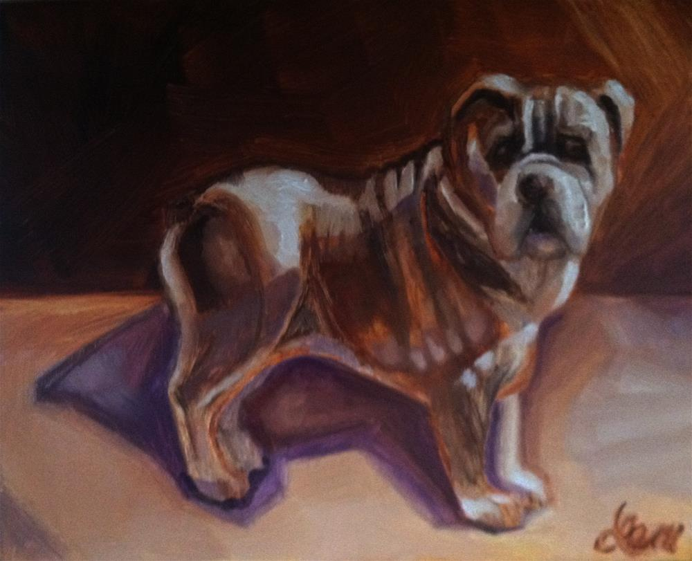 """Bulldog and His Shadow"" original fine art by Leni Tarleton"
