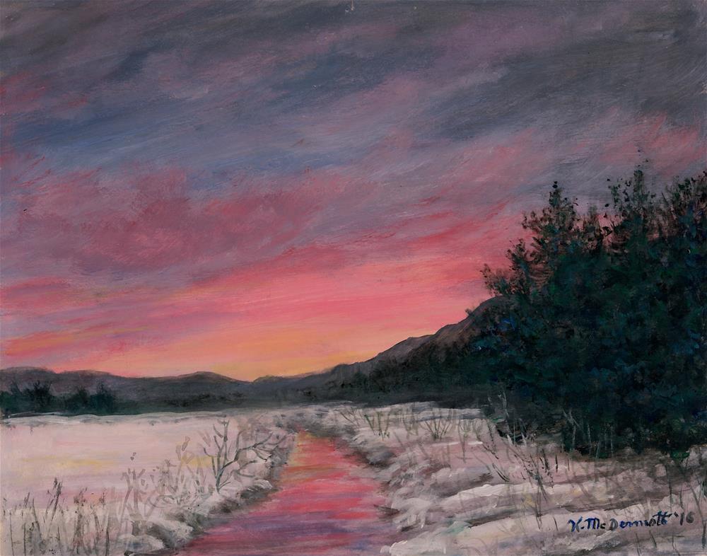 """""""Winter Sundown"""" original fine art by Kathleen McDermott"""