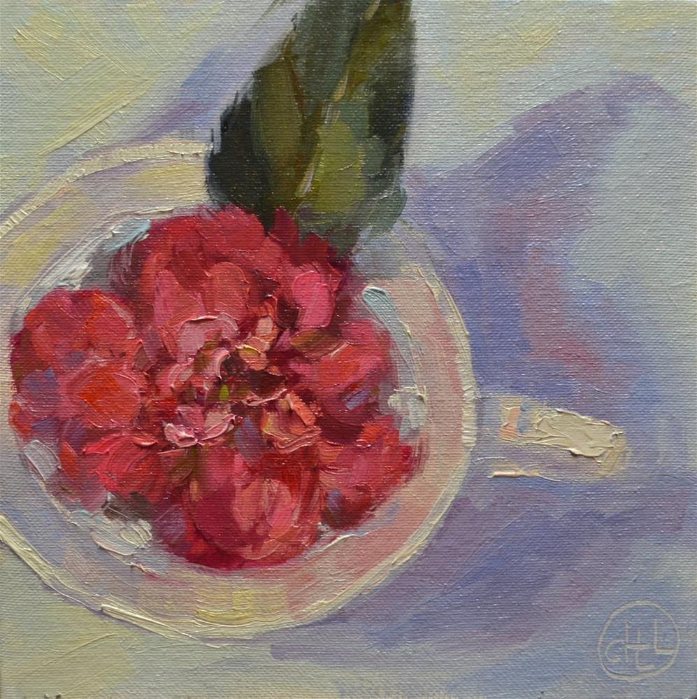 """teacup camellia"" original fine art by Dottie  T  Leatherwood"
