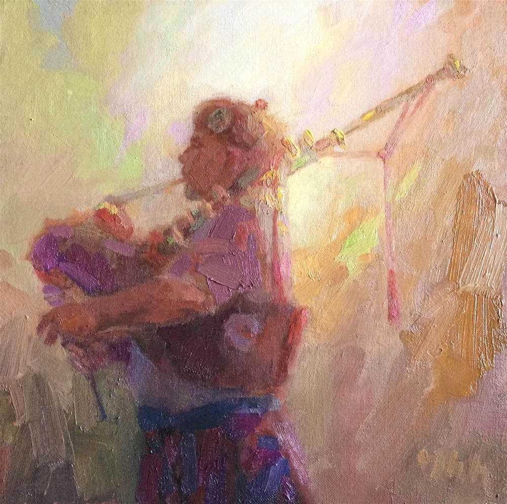 """piper"" original fine art by Yuehua He"