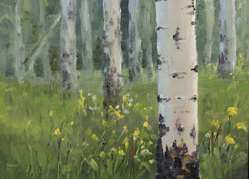 """Aspen Trunks"" original fine art by Bonnie Bowne"