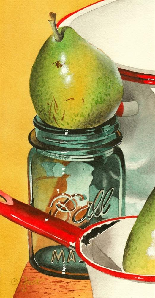 """Ball Jar with Pear"" original fine art by Jacqueline Gnott, TWSA, WHS"
