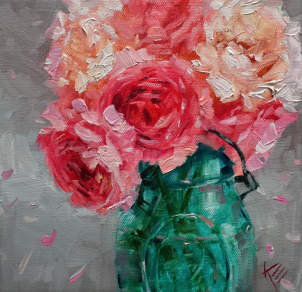 """Peonies in Vintage Jar"" original fine art by Krista Eaton"