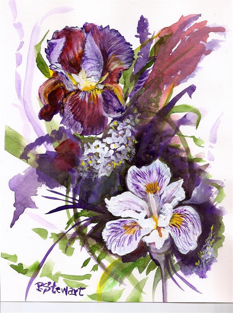 """""""8.5x11 Bearded Iris Flowers Floral Still Life Mixed Media Penny Lee StewArt"""" original fine art by Penny Lee StewArt"""