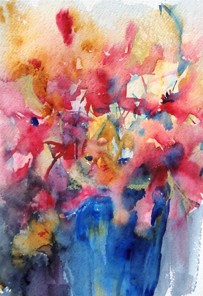"""Flowers in a Blue Pot"" original fine art by Amy Bryce"