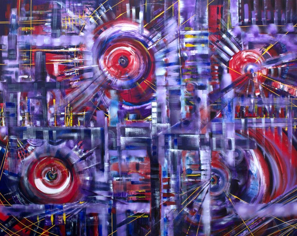 """Purple Fantasy,original purple abstract painting"" original fine art by Khrystyna Kozyuk"