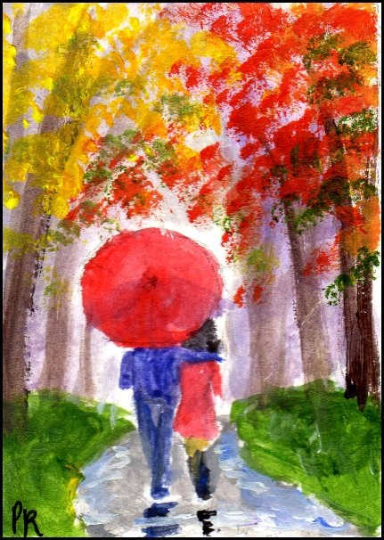 """Red Umbrella in Autumn"" original fine art by Patricia Ann Rizzo"