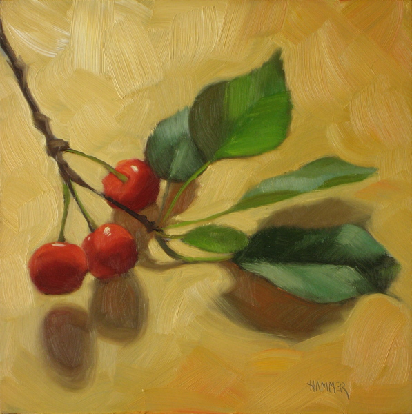 """Three tree cherries 6x6 oil on gessobord"" original fine art by Claudia Hammer"