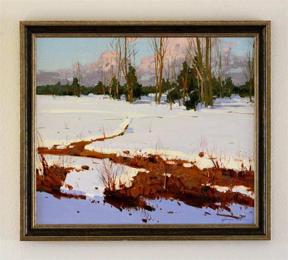 """WINTER ORIGINAL OIL PAINTING FRAMED READY TO HANG"" original fine art by V Yeremyan"