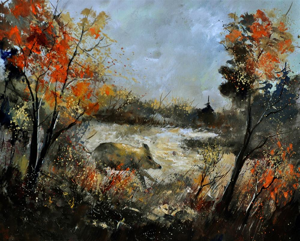 """Wild boar 56"" original fine art by Pol Ledent"