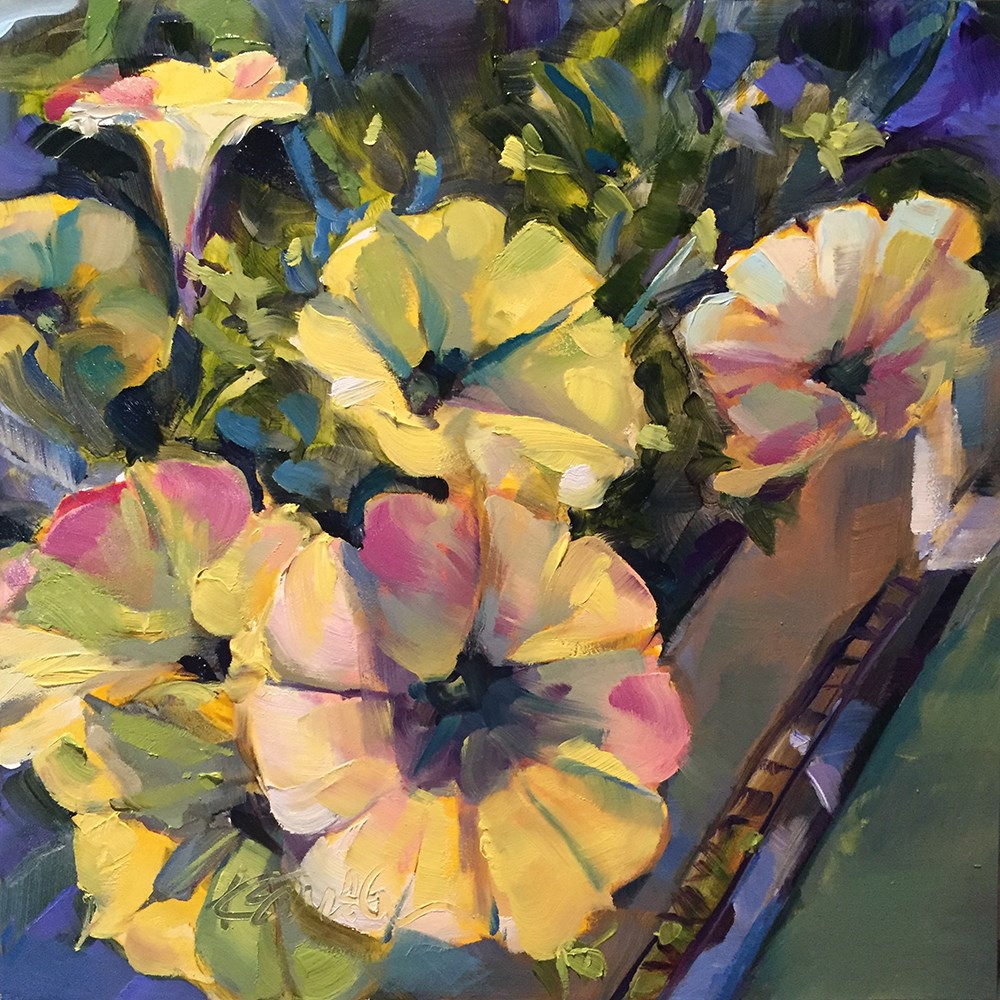 """petunias"" original fine art by Kim Smith"