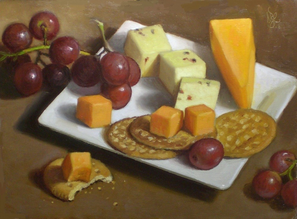 """Cheese, Crackers and Grapes"" original fine art by Debra Becks Cooper"