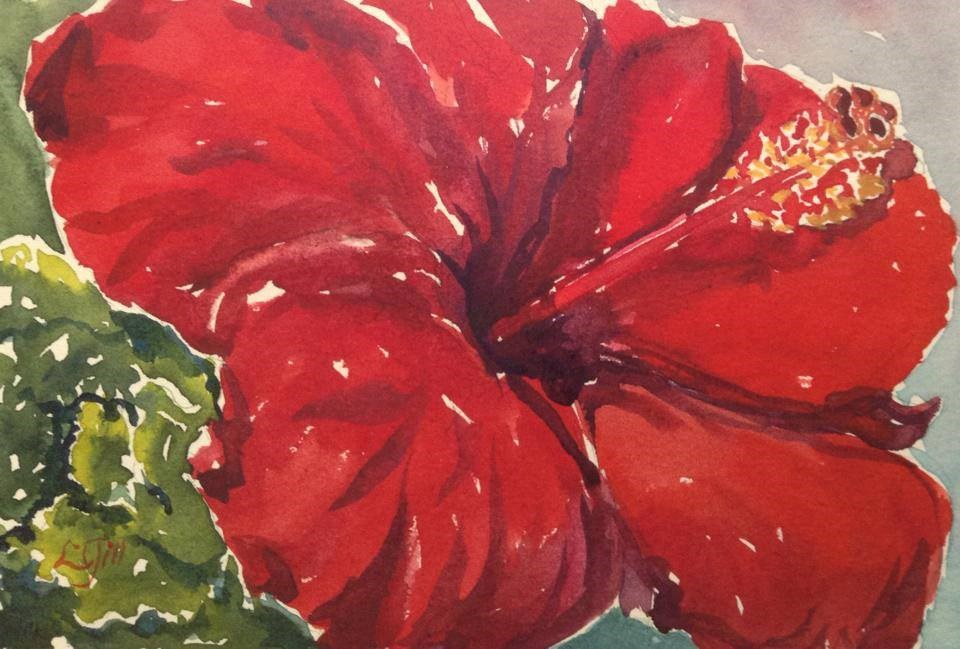 """Day 1 - Three Alarm - Red Hibiscus"" original fine art by Lyn Gill"