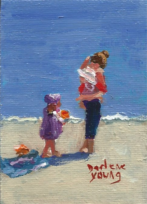"""950 Beach Day, Ogden Point, Miniature 2.5x3.5, oil on board"" original fine art by Darlene Young"