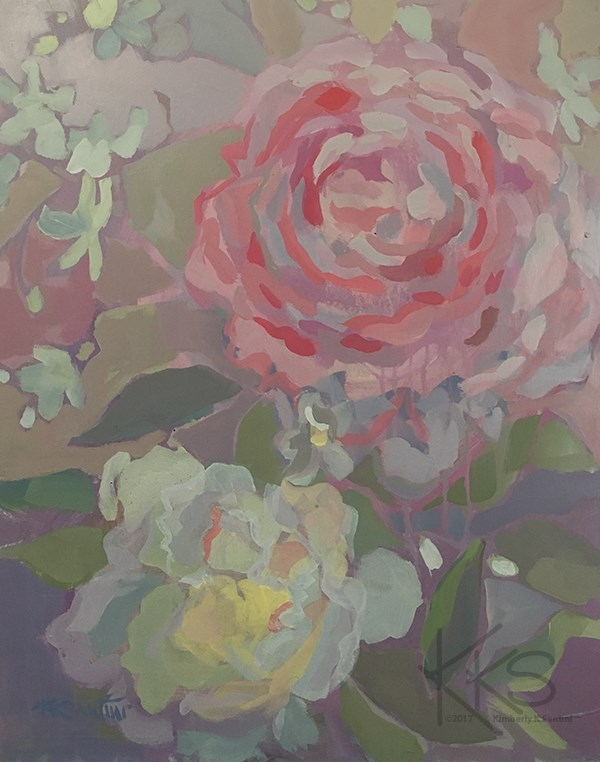 """Peonies and Orchids"" original fine art by Kimberly Santini"