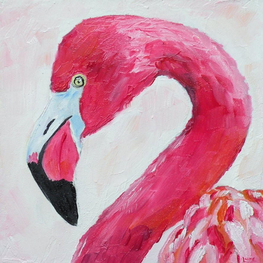 """FLAMINGO ORIGINAL OIL 4X4 OIL ON PANEL © SAUNDRA LANE GALLOWAY"" original fine art by Saundra Lane Galloway"