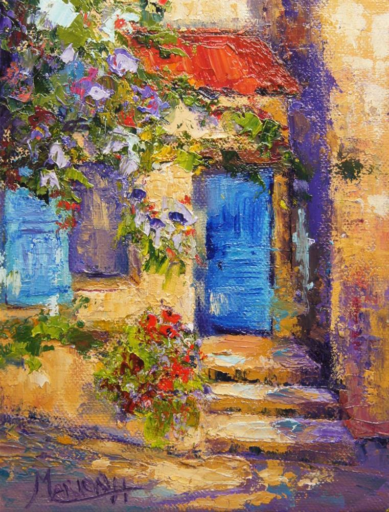 """The Blue Door, Provence Village"" original fine art by Marion Hedger"