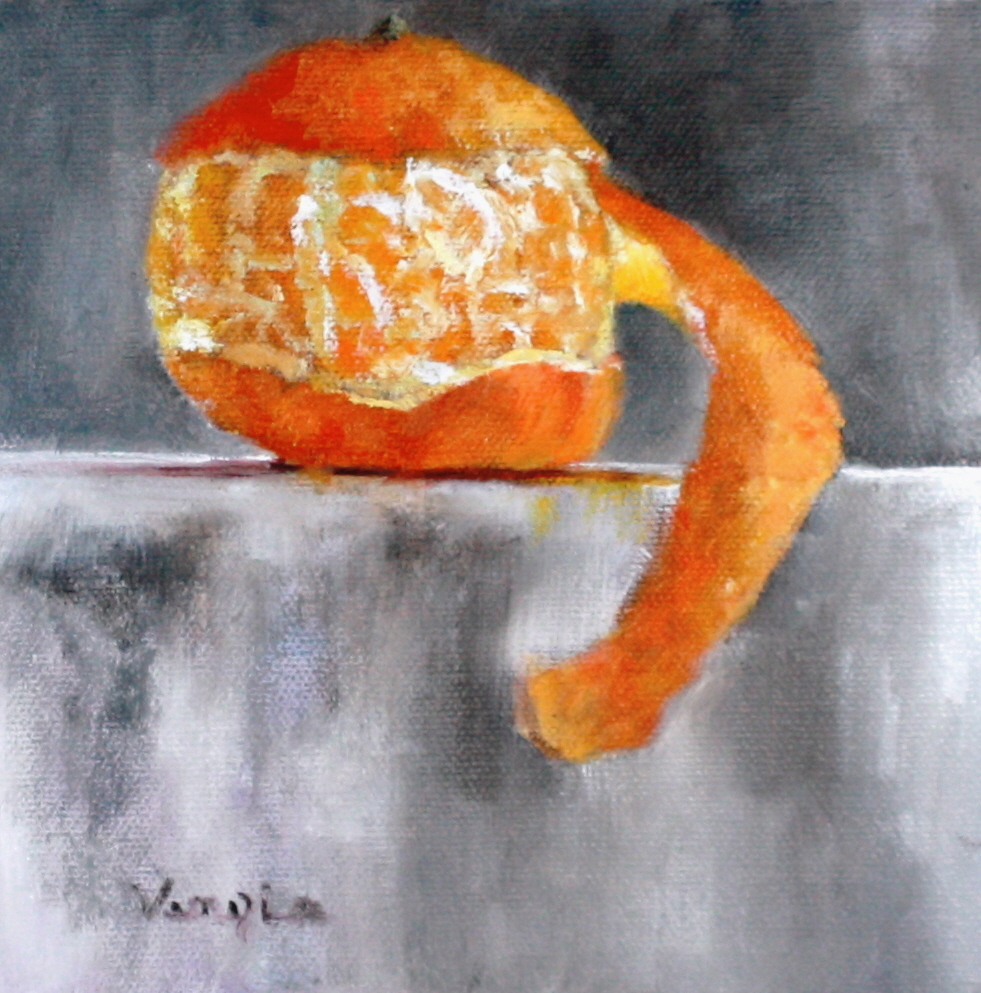 """still life with peeled clementine"" original fine art by Carrie Venezia"