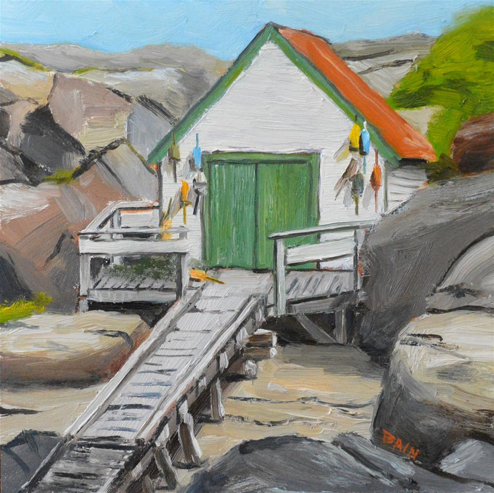 """Fish Shed"" original fine art by Peter Bain"