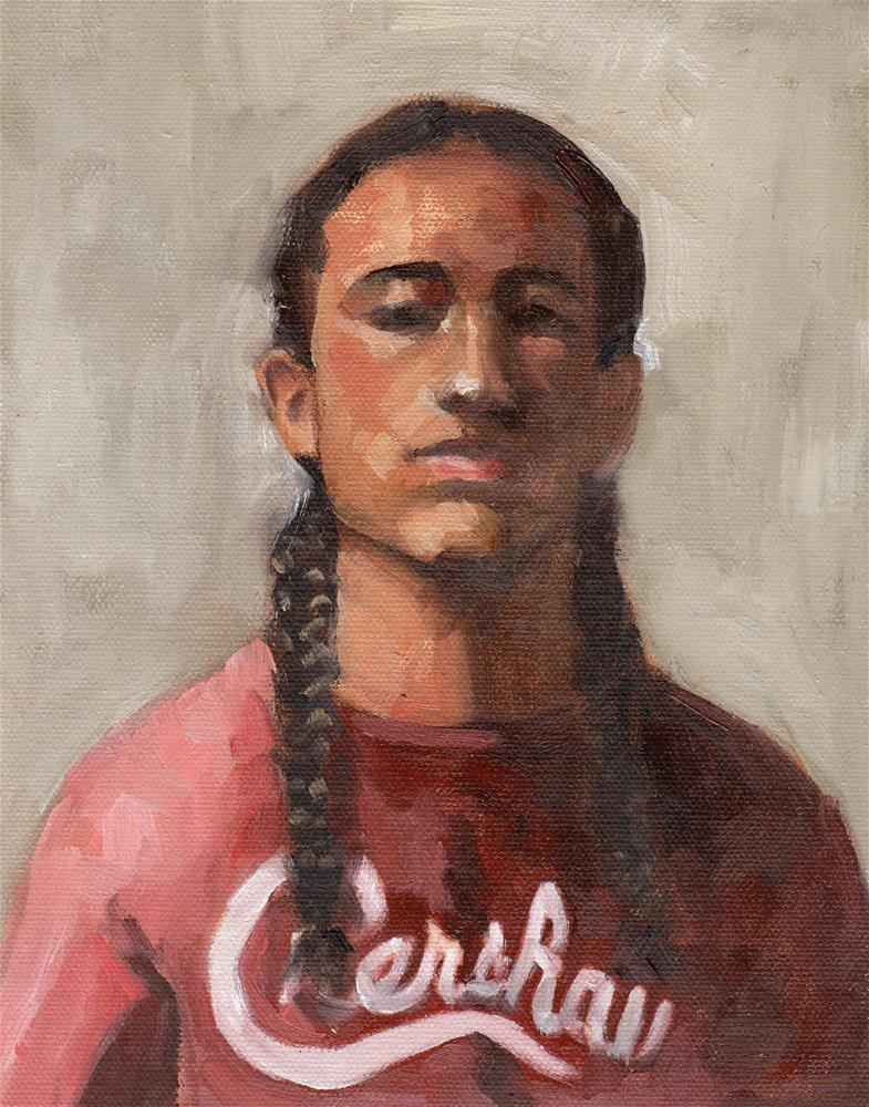 """Young Man with Pigtails"" original fine art by Marlene Lee"