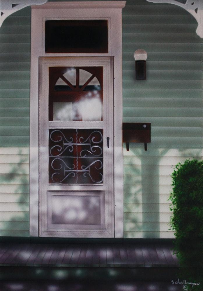 """Porch on Cherry Street"" original fine art by Fred Schollmeyer"