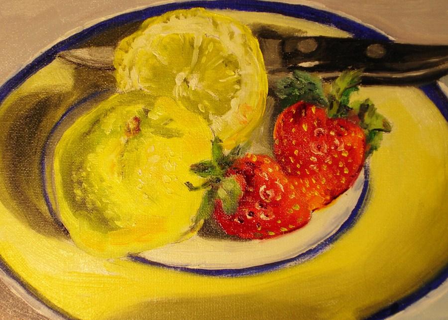 """Lemons are Yellow"" original fine art by Linda Lowery"