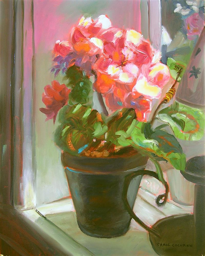 """Glowing Begonias"" original fine art by Carol Cochran"