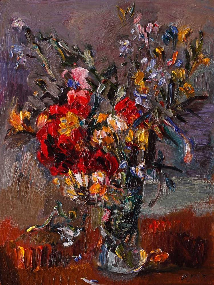 """Yellow and Red Bouquet of Wildflowers in a Vase"" original fine art by Anna  Fine Art"