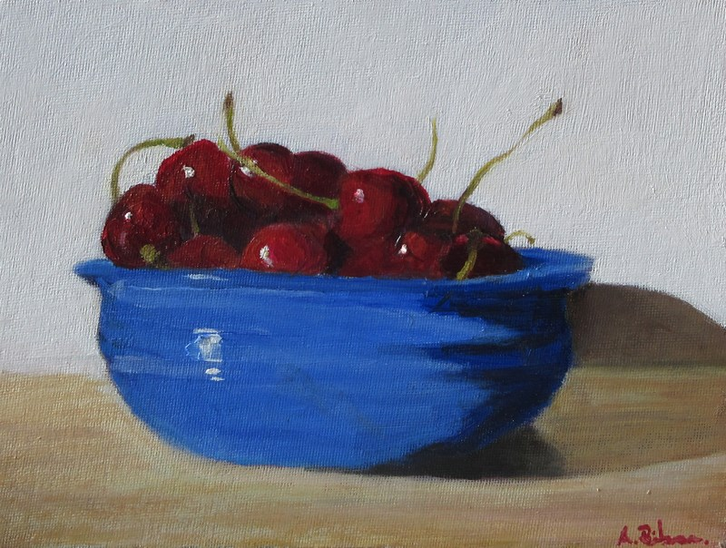 """Bowl of Cherries"" original fine art by Amanda Bilson"