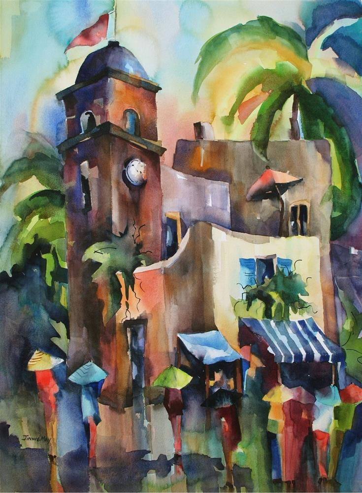 """Clock Tower, Capri"" original fine art by Jinnie May"