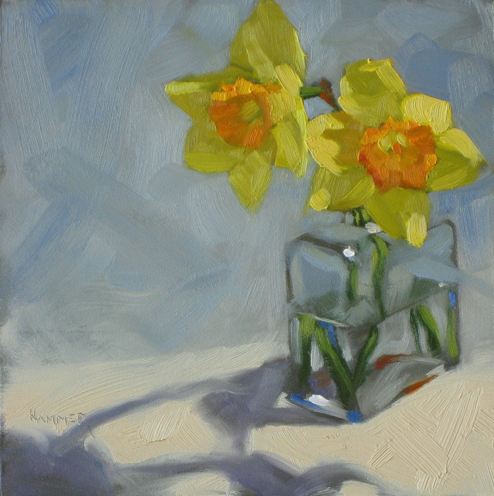 """Spring is in my studio 6x6 oil"" original fine art by Claudia Hammer"