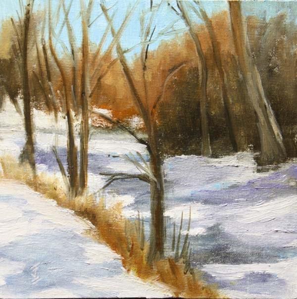 """Snowy Creek"" original fine art by Jane Frederick"
