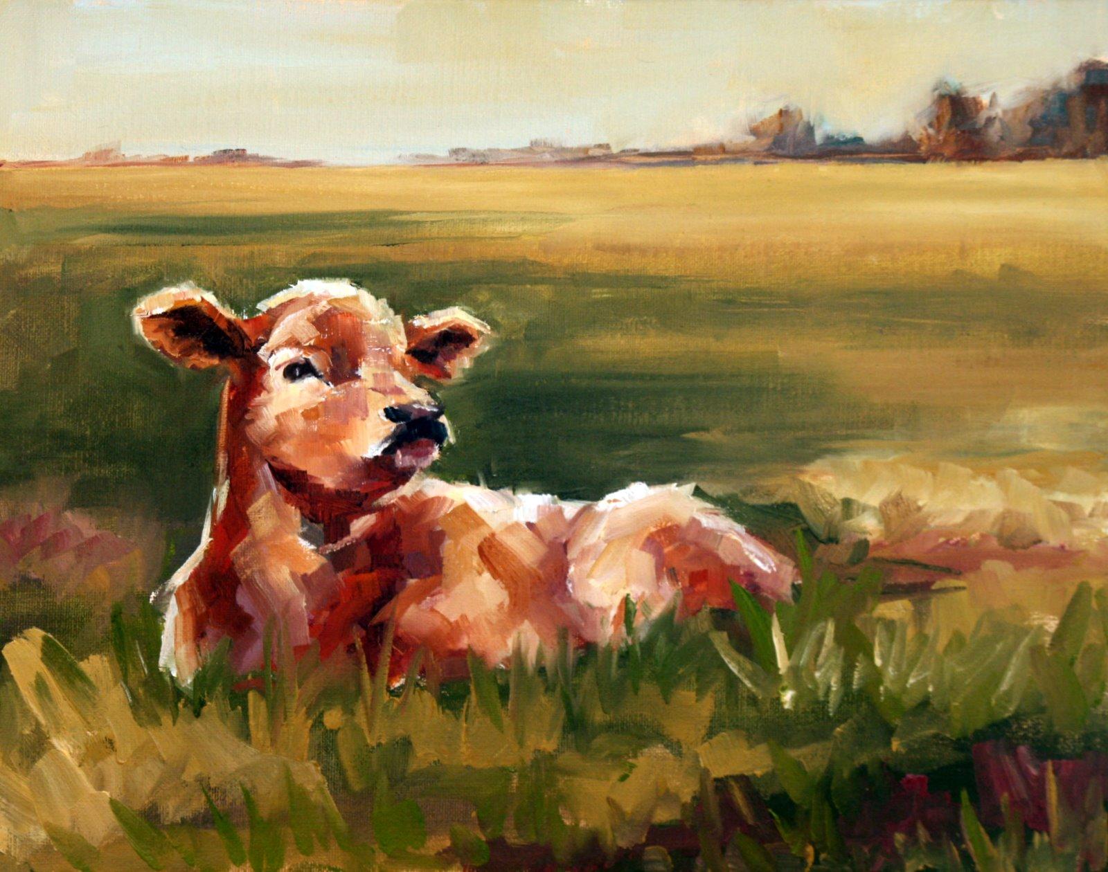 """""""Spring calf"""" original fine art by Carol Carmichael"""