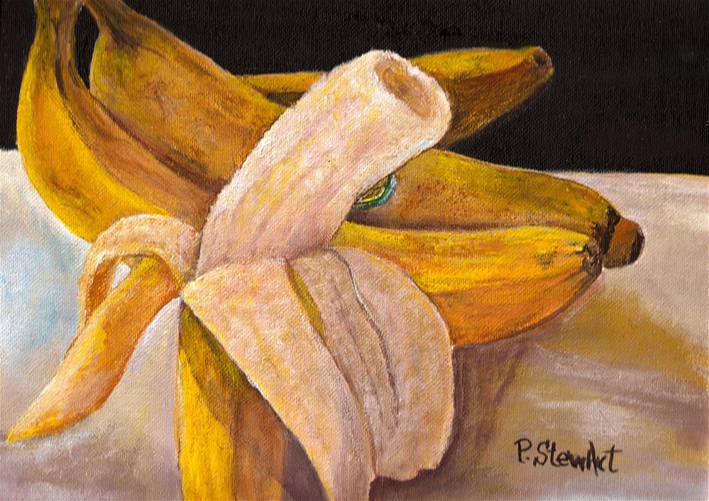 """9x12 Going Bananas Acrylic Painting Still Life Fruit SFA Penny StewArt"" original fine art by Penny Lee StewArt"