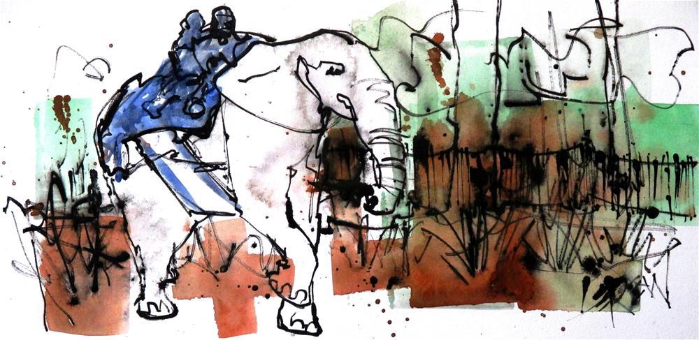 """Racing The American Elephant by Larry Lerew 160804"" original fine art by Larry Lerew"