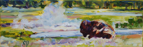 """Yellowstone Spa Treatment"" original fine art by Carol DeMumbrum"