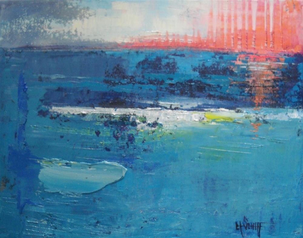 """Abstract Seascape, Contemporary Painting, The Sun falls to the Sea by Carol Schiff, 11x14 Origina"" original fine art by Carol Schiff"