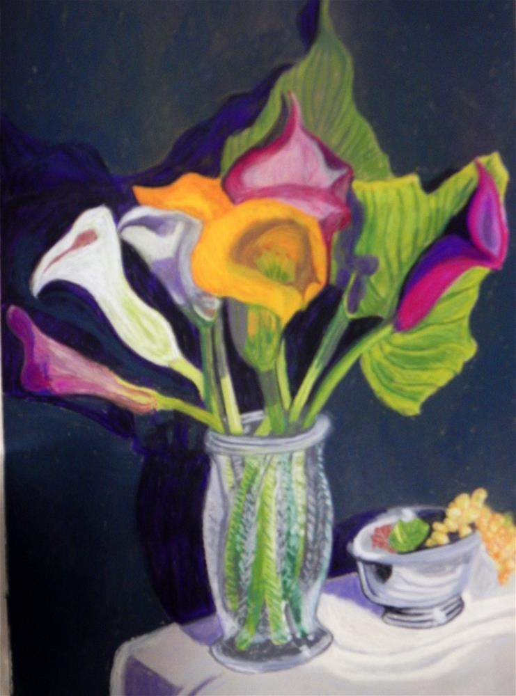 """Cala Lilies with Bowl of Grapes"" original fine art by Elaine Shortall"