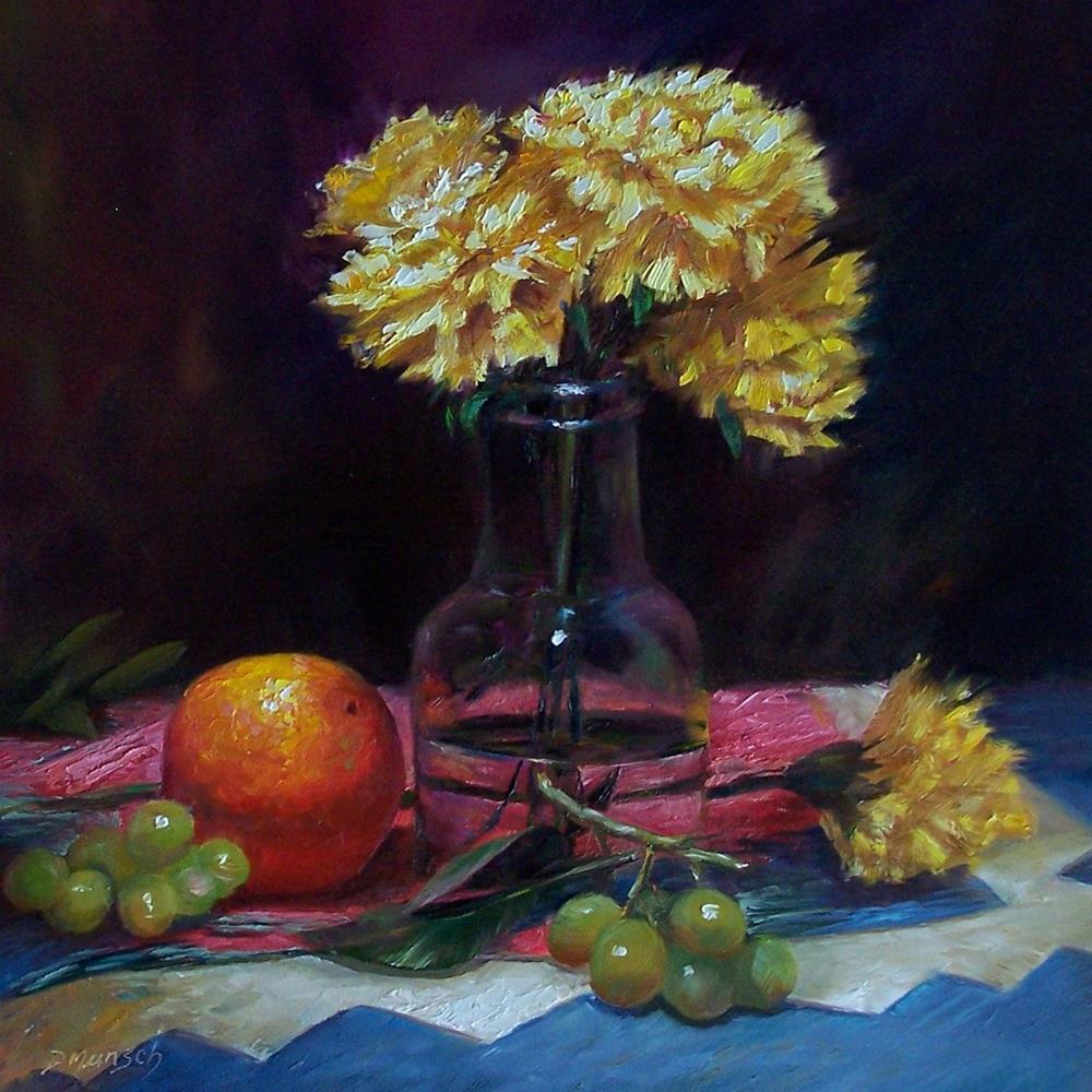 """""""Yellow Carnations"""" original fine art by Donna Munsch"""