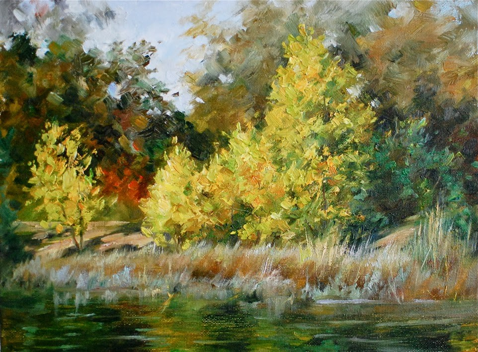 """Fall in the Vasona Lake"" original fine art by Kelvin Lei"