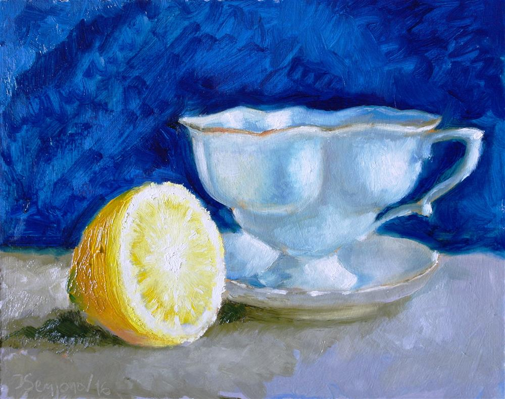 """cup and lemon"" original fine art by Juri Semjonov"